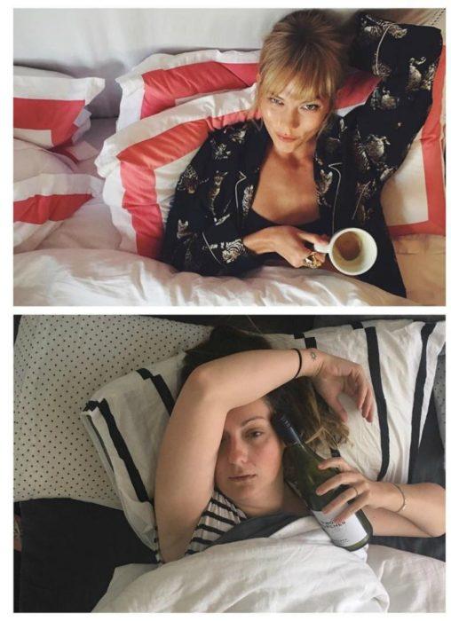mujer en la cama con botella