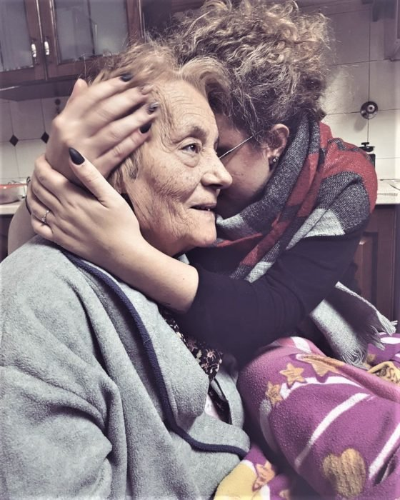 woman hugging her grandmother