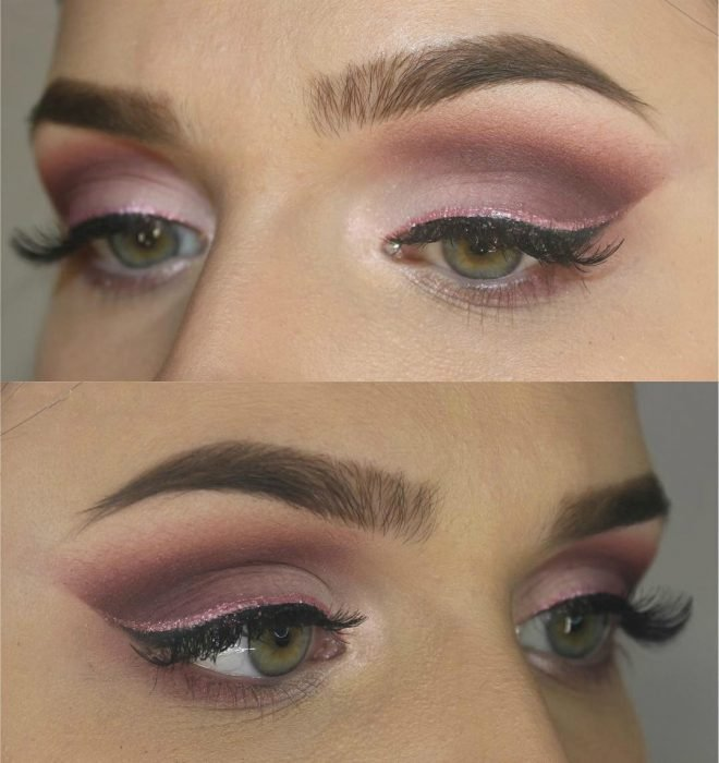 woman with pink makeup shadow