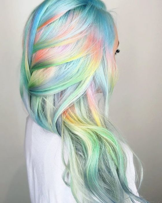 Hair girl with pastel colors.