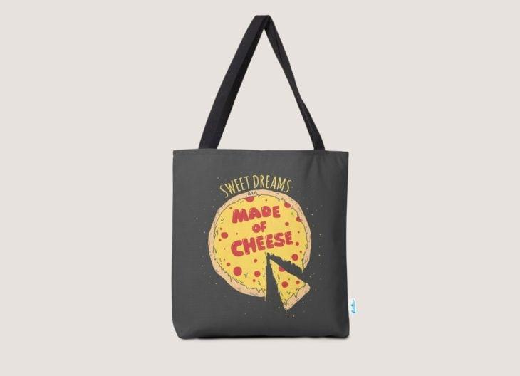 bolso de tela con logo de queso