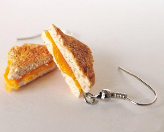 shaped earrings cheese sandwich
