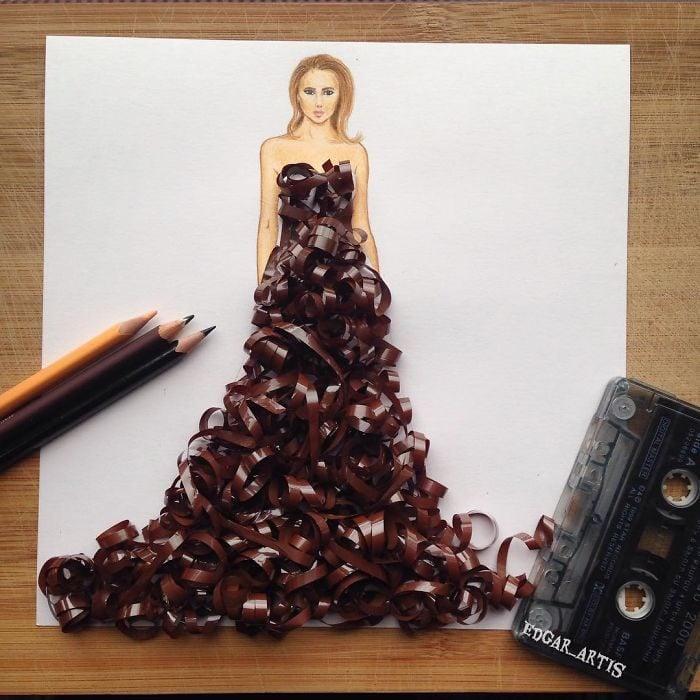 bocetos de vestidos creados con comida