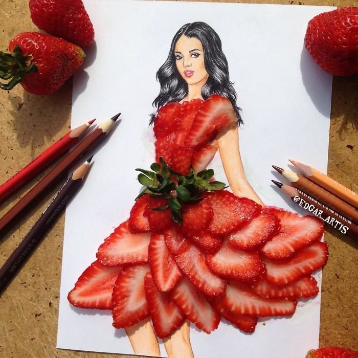 sketches of dresses created with food