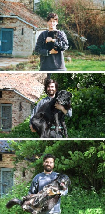 niño antes y después cargando a su perro