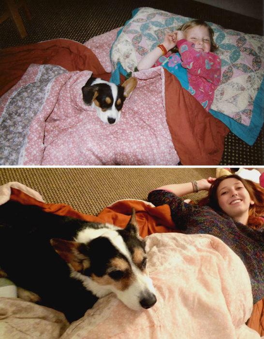mujer acostada en la cama con su perro