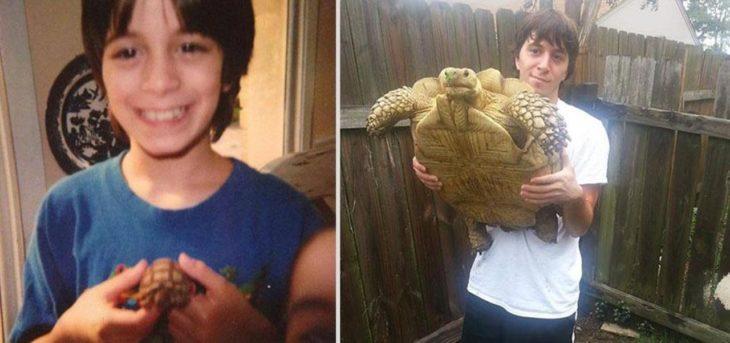 niño antes y después cargando su tortuga