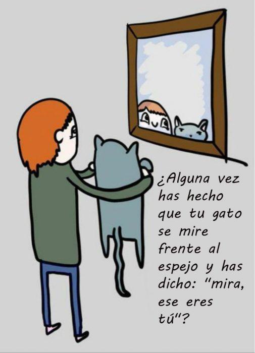 mujer pelirroja frente al espejo con gato ilustración