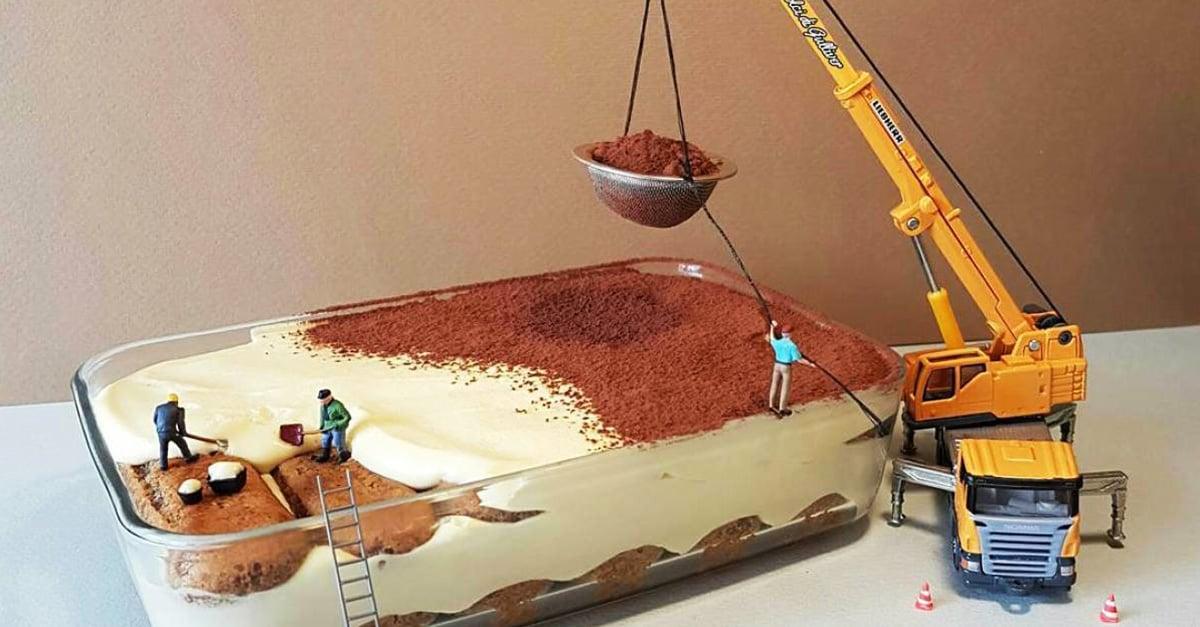 Chef italiano crea mundos miniatura sobre sus creaciones de repostería