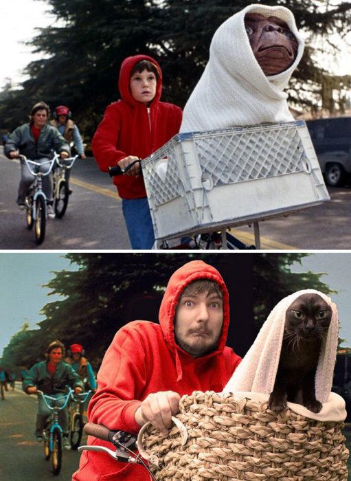 escena ET vs recreación chico y su gato