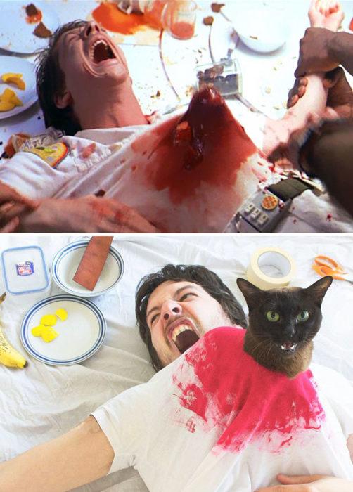 escena Alien vs chico con su gato