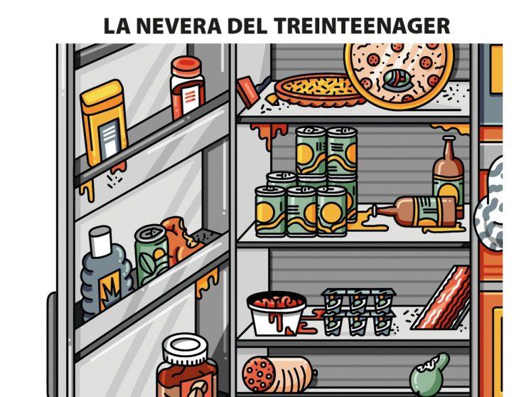 ilustración de nevera con comida