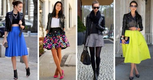 15 Combinaciones de falda y chaqueta de cuero que deberías usar