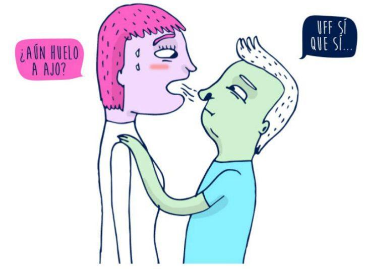 ilustración de mujer y hombre oliendo aliento