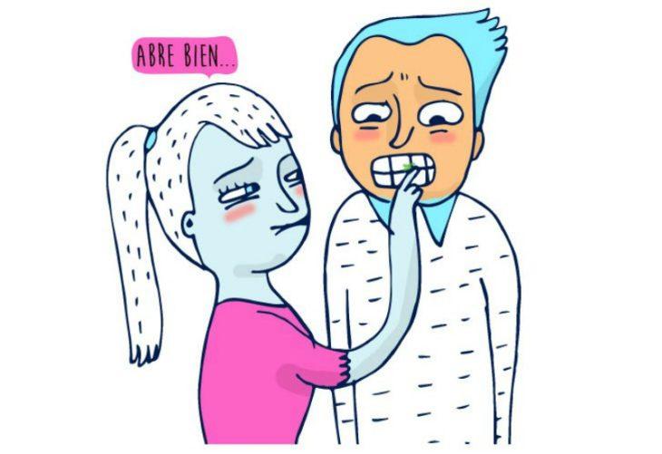 ilustración de mujer limpiando dientes a hombres