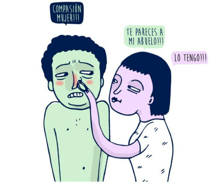 ilustración de mujer con pinzas y nariz