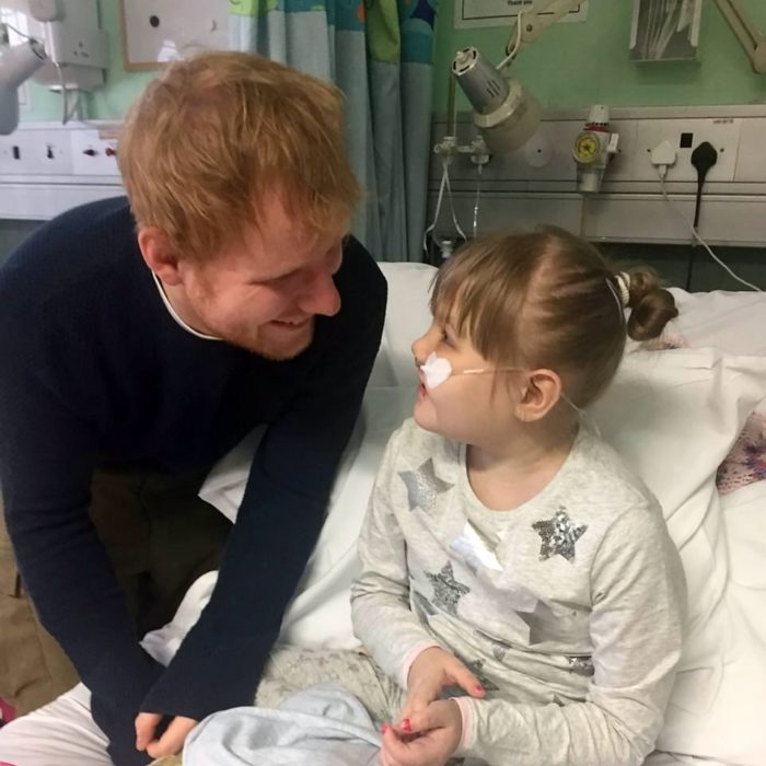 Ed Sheeran and little girl in hospital