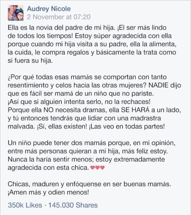 Carta de una madre a la nueva novia de su exmarido