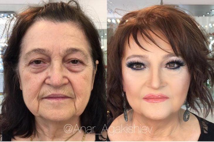 antes y después de una mujer a la que le regresaron su juventud con un poco de maquillaje