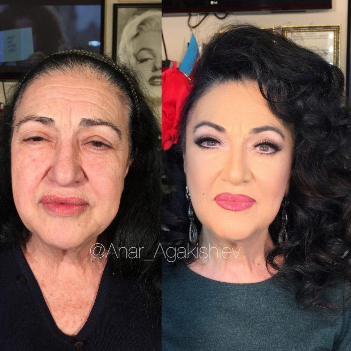antes y después de una mujer a la que le regresaron su juventud con maquillaje