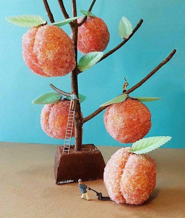 arbol con duraznos de dulce