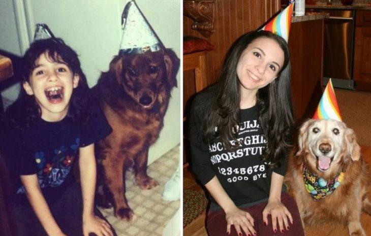 niña sentada con su perro antes y después