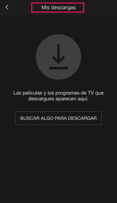 Captura de pantalla de 'Mis descargas' de Netflix