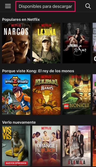 Captura de pantalla de Netflix de contenido disponible