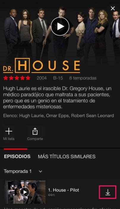 Captura de pantalla de Netflix en un celular