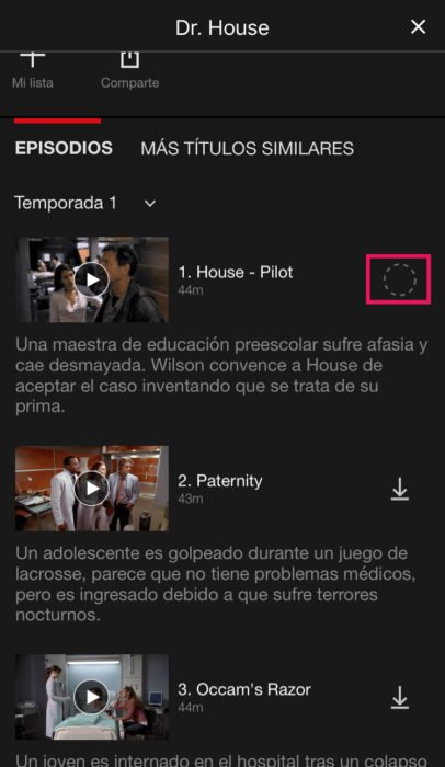Captura de pantalla de Netflix descargando capítulo