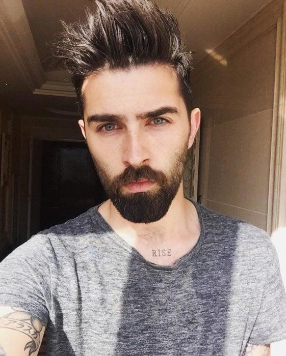 Men with beards and gray shirt
