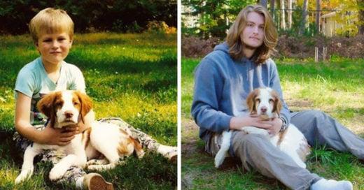 15 Increíbles imágenes de perros y sus dueños que crecieron juntos