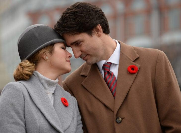 Justin Trudeau y su esposa