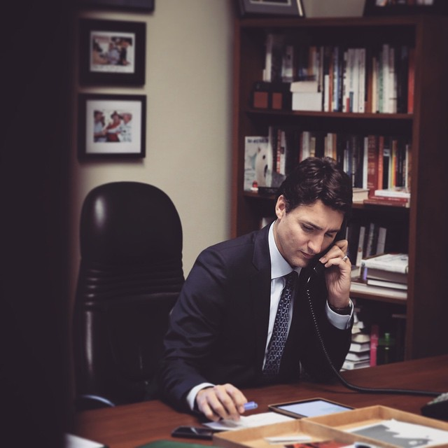 Justin Trudeau talking on the phone