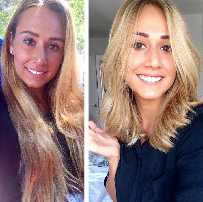 Chica de cabello largo se lo corta