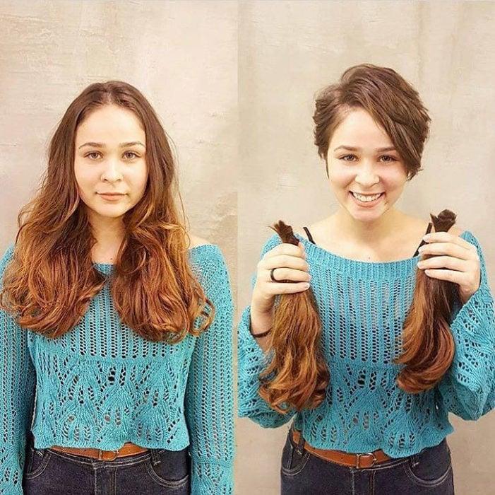 Cambio de look de chica con el cabello corto