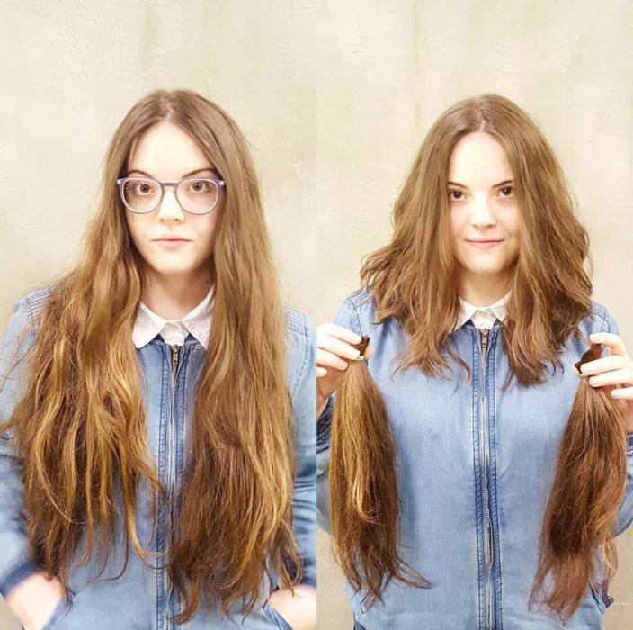 Cambio de look de chica con el cabello largo y corto