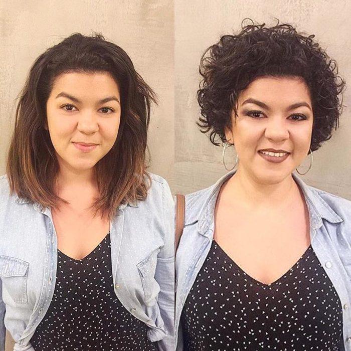 Cambio de look de chica con el cabello largo