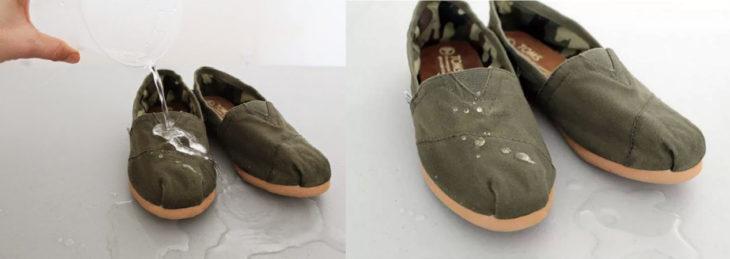 Zapatos con agua