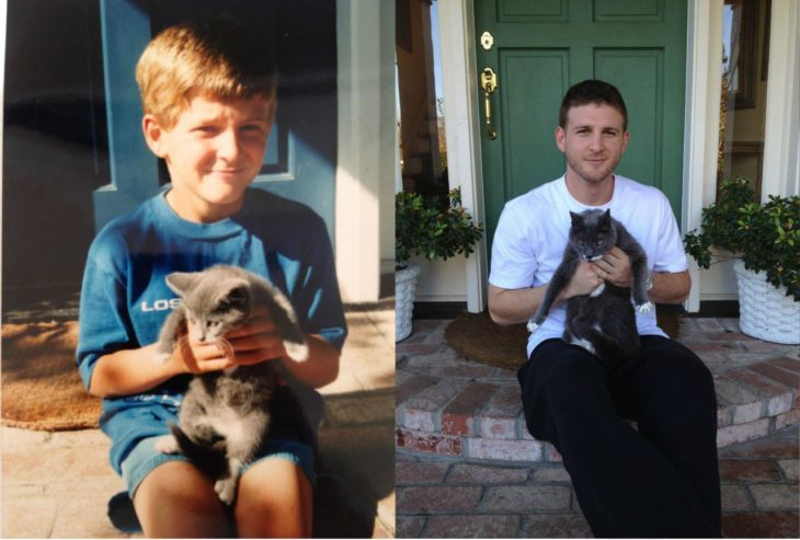 niño sentado con su perro antes y después