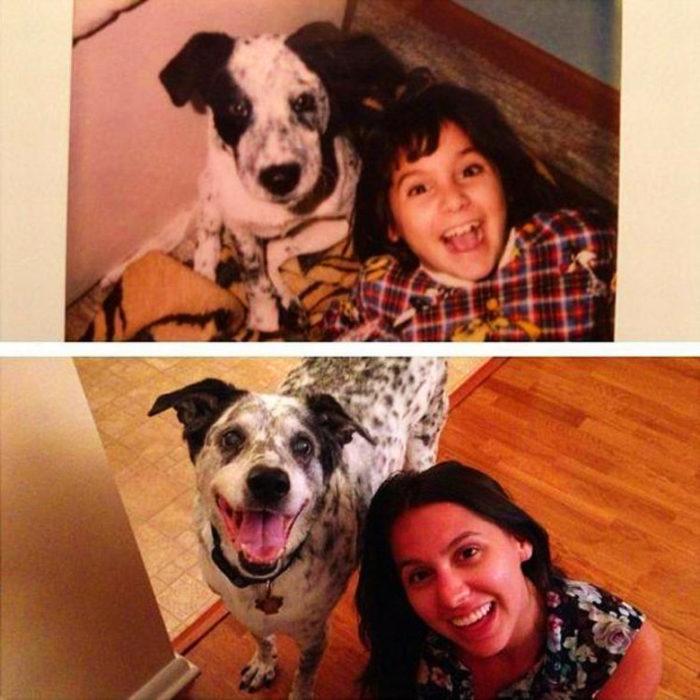 niña antes y después junto a perro