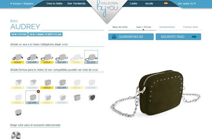 captura de pantalla para diseñar bolsos