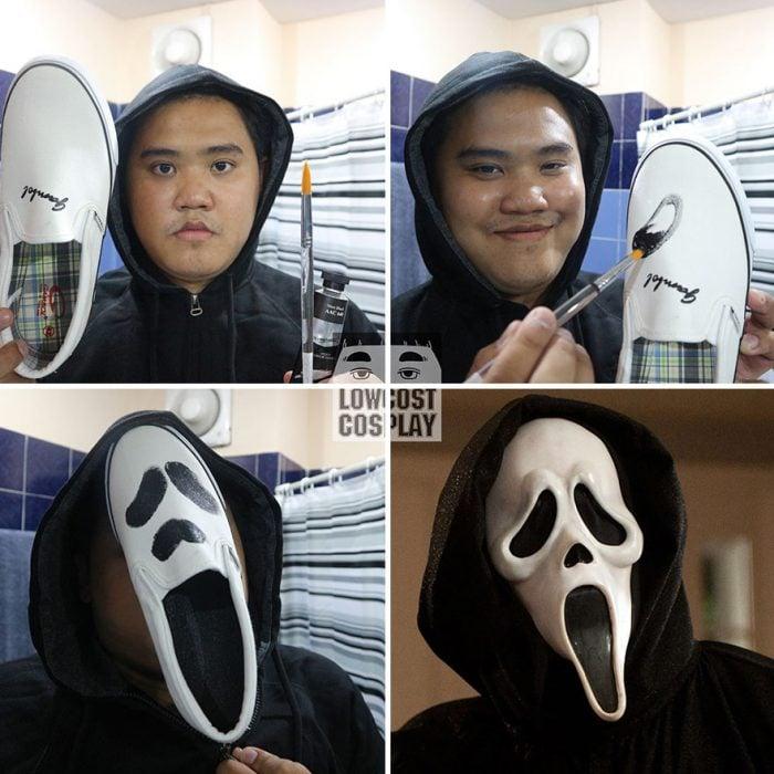 Zapato transformado en la cara de Scream.