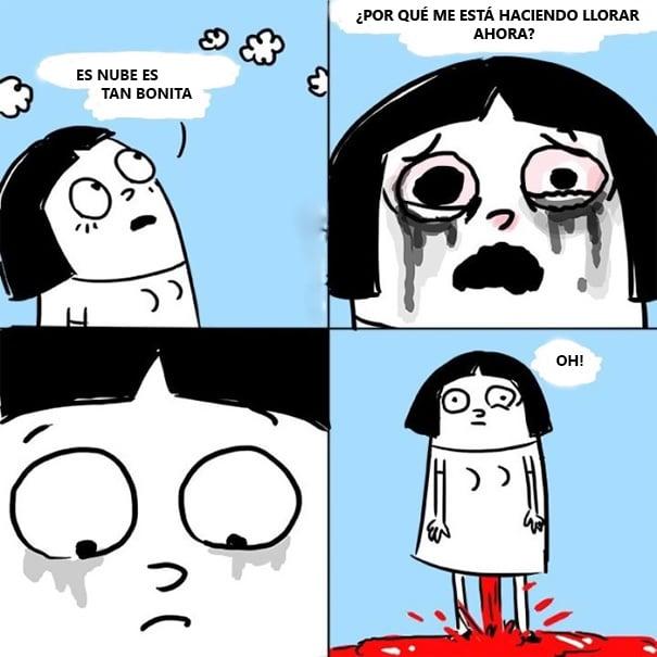 Ilustración de una niña llorando.