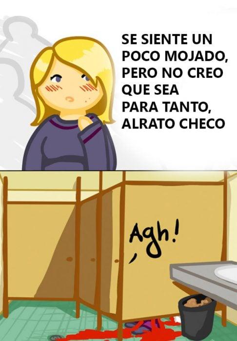 Ilustración de una chica en el baño.