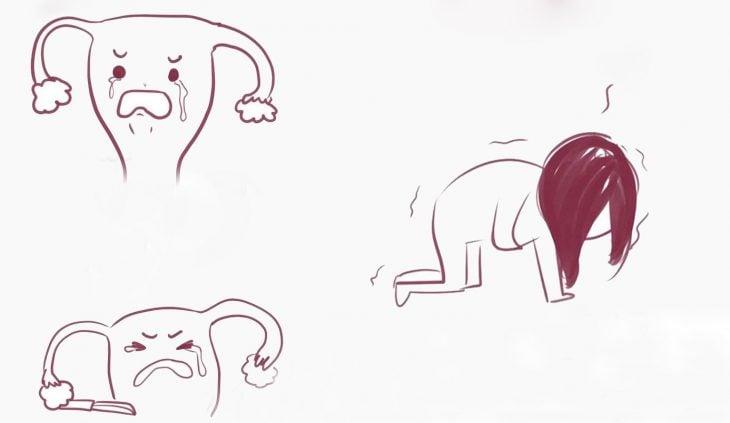 Ilustración de una mujer y un útero.