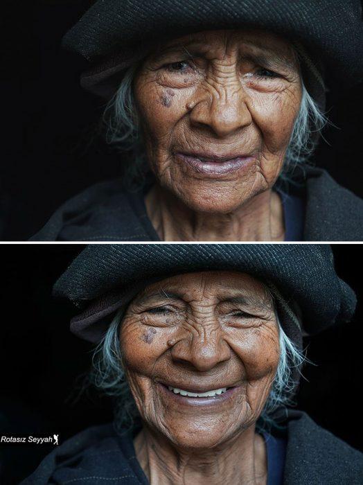 Señora cambia completamente su reacción cuando le dicen que es bonita.