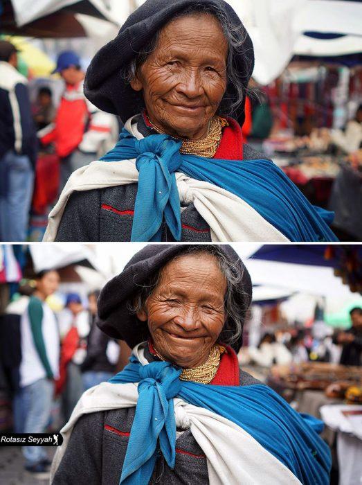 Señora sonriendo.