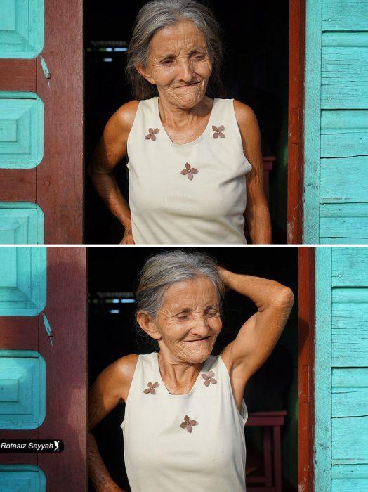 Reacción de una señora cuando le dicen que es bonita.
