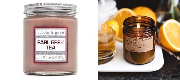 Velas aromáticas con esencia de variedades de té.